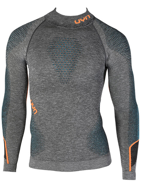 UYN Ambityon Melange UW LS Turtle Neck Shirt Men Black Melange/Atlantic/Orange Shiny